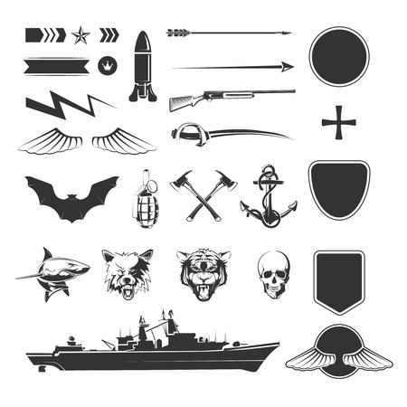Símbolos militares conjunto de mega. militar ejército, arma escudo, destructor barco. ilustración vectorial Foto de archivo - 63991729