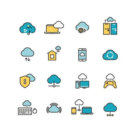 syncing: Syncing computer, cloud computing network, big data analysis, internet security line icons. Vector illustration
