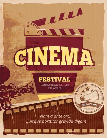 Cine, cartel de la vendimia festival de cine. banner de Cinematografía. ilustración vectorial