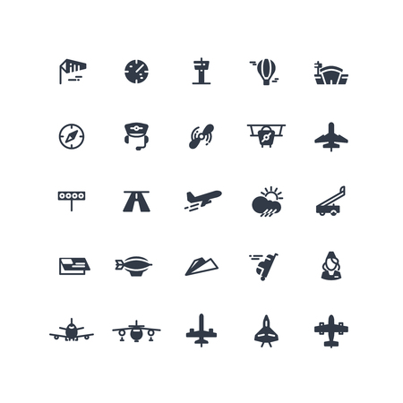 Airplanes and flight black vector icons. Airplane transport, transportation signs