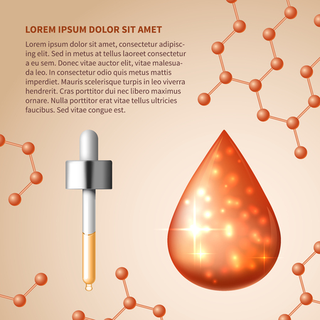 Collagen and serum skin care cosmetic abstract background. Natural product, liquid drip. Vector illustration