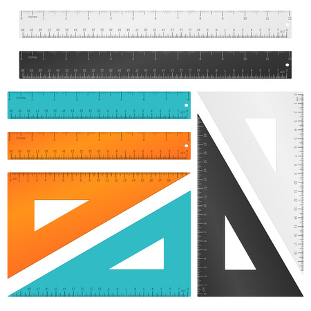 centimeters: Rulers and triangle with inches, centimeters and millimeters scale. Tool education, measurement instrument set. Vector illustration