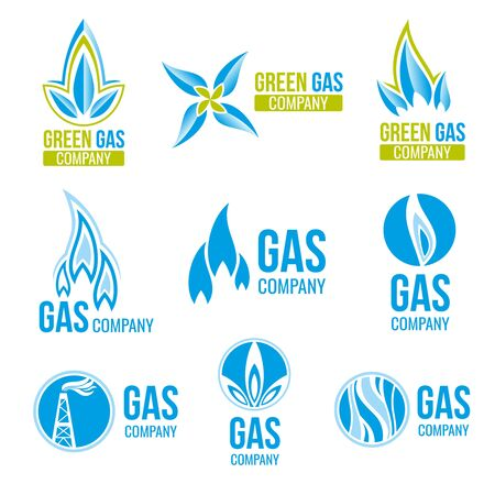 green fuel: Gas industry, icons set. Energy industry green fuel. Vector illustration