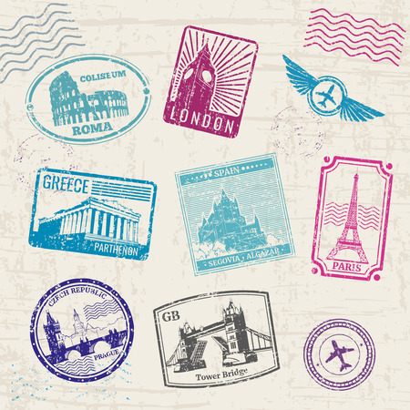 Travel stamps with Europe countries landmarks. Vector illustration