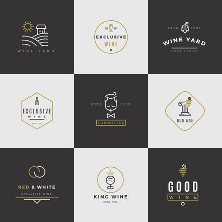 wine card: Wine card vector set. Alcohol menu emblems with bottles and glasses Illustration