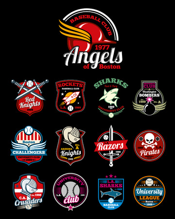 collegiate: Sports teams high school, university and college color badges. Emblem  for baseball league. Vector illustration