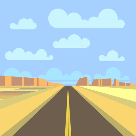 desert road: Road, highway and mountain landscape background. Desert prairie road panorama. Vector flat illustration