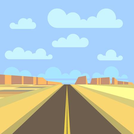 desert highway: Road, highway and mountain landscape background. Desert prairie road panorama. Vector flat illustration
