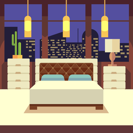 snug: Bedroom interior in flat design style with home furniture. Vector illustration