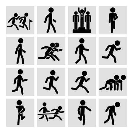 Set of runner figure icons for sport marathon, race. Vector illustration