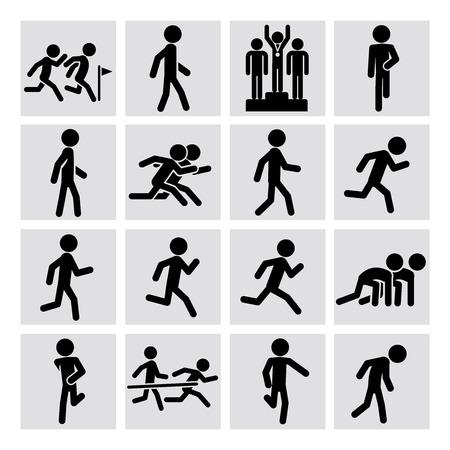 Set of runner figure icons for sport marathon, race. Vector illustration