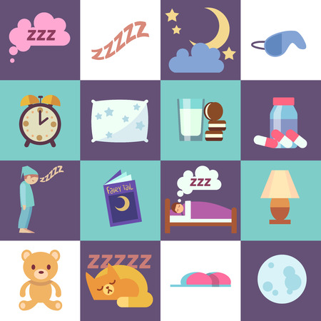 restful: Sleep time vector flat icons. Night rest symbols illustration