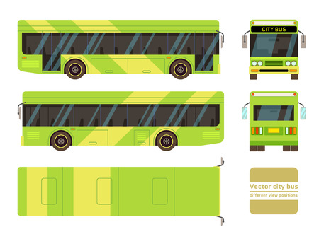 positions: Vector city bus in different view positions. Front and side vehicle illustration Illustration