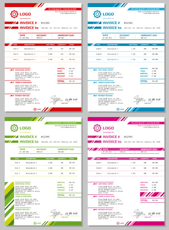 paying bills: Invoice templates set. Payment form for business Illustration