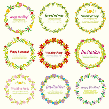 Floral Frames And Wreaths With Flowers Set Decoration For Weddings
