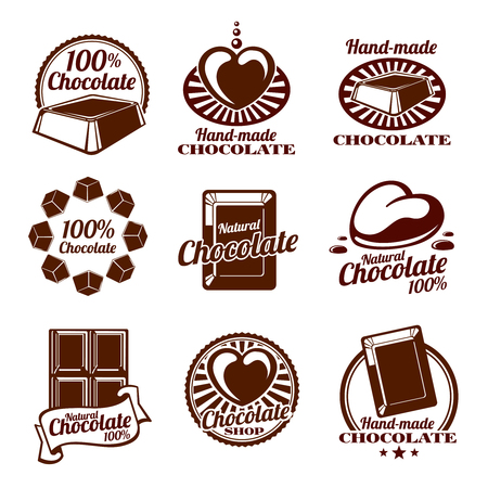 contemporary taste: Chocolate icon, emblems and badges. Food hand made.