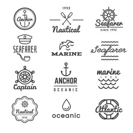 Nautical hipster icon. Sea emblems and badges in linear style