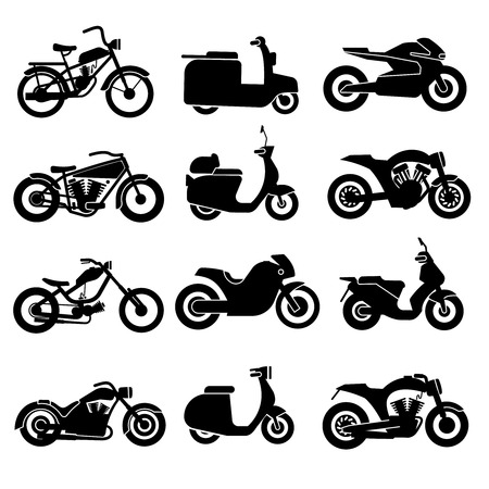 motorbike: Motorcycle black vector icons set. Transport bikes transportation signs Illustration