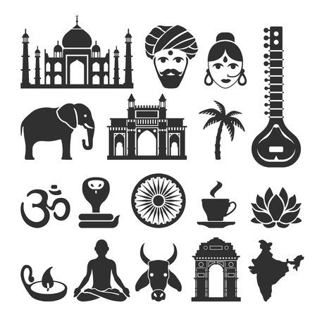 Ikony indyjskie. Podróż Indii, Słoń i Maharajah, joga i Taj Mahal czarne znaki ilustracji Ilustracje wektorowe