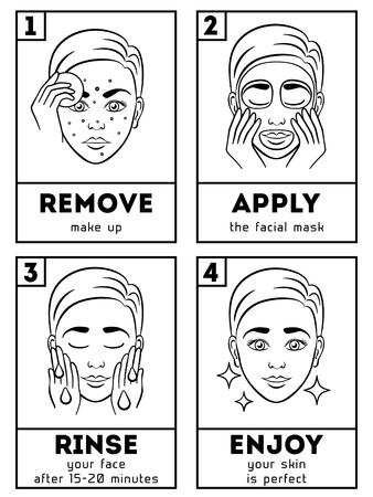 스킨 케어 인포 그래픽. 피부 문제를 가진 소녀 화장품을 사용하여 결과를 보여줍니다. 피부과 크림 절차, 휴식, 위생 그림