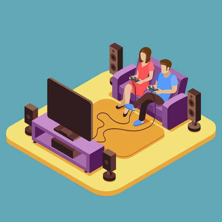 Young family, man and girl are playing video game at home. Vector illustration in 3D isometric style