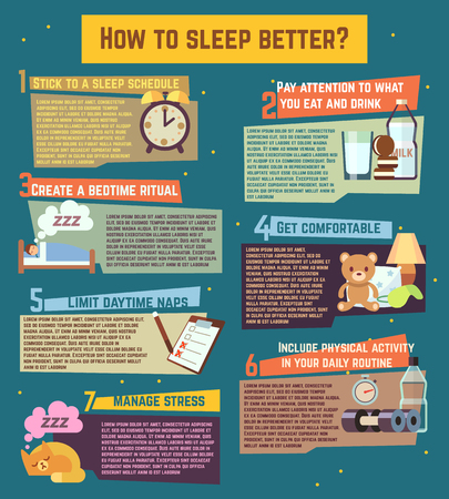 day bed: How to sleep better. Vector infographics about healthy relaxation night dream illustration Illustration