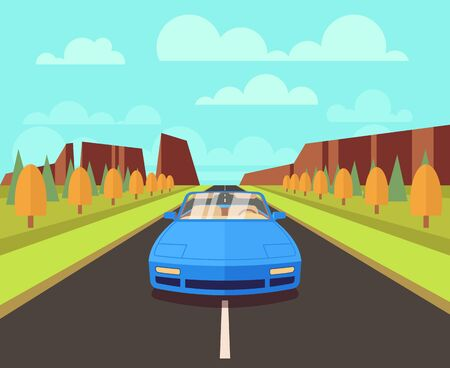 highway: Car on road with outdoor landscape. Vector flat travelling concept background. Auto car road journey illustration