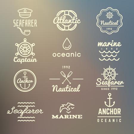 Vintage marine, nautical, navy labels, sea vector set on blurred background. Vintage anchor emblem design