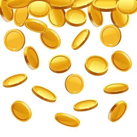 Gouden munten vallen. Vector financieel concept achtergrond. Investeringsillustratie Stock Illustratie