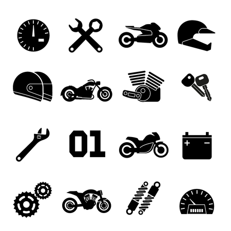 Motorcycle race vector icons. Part of motorbike and sport moto helmet signs illustration Vettoriali