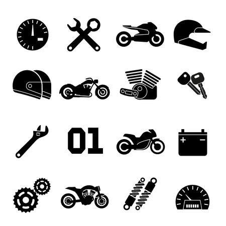 Motorcycle race vector icons. Part of motorbike and sport moto helmet signs illustration Stock Illustratie