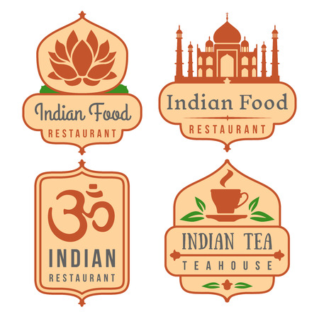 india food: Indian food vector   set. India cafe emblems, oriental cuisine banners on white Illustration