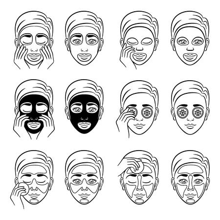 Mädchen pflegt und schützt das Gesicht mit verschiedenen Kosmetikprodukt. Gurken Reinigungsmaske Spa, Refresh-Verfahren. Vektor-Illustration Vektorgrafik