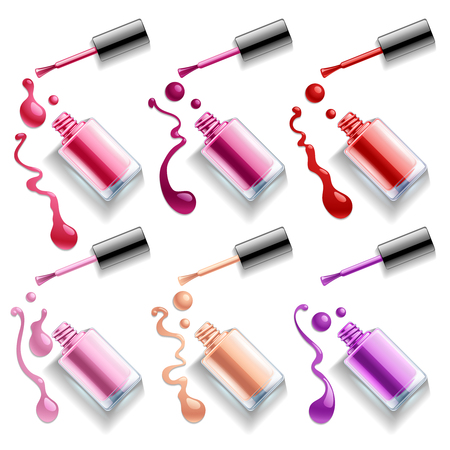 Nail polish colors spilling out of bottles. Vector templates for cosmetic products. Glamour elegance manicure illustration
