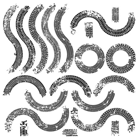 treads: Tire tracks with grunge texture set. Vector illustration