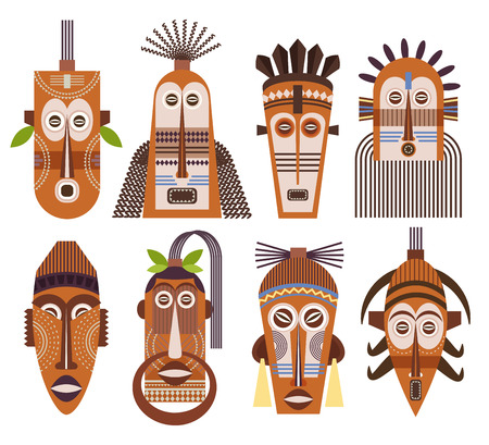 carving: Tribal mas icons. African ethnic tribal masks signs vector Illustration