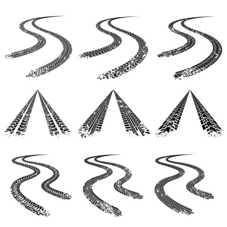 Tire trace road collection in grunge style. Vector illustration
