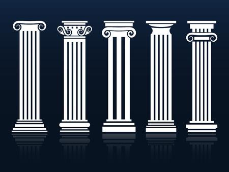 Classic columns. Ancient vector architecture roman and greek pedestal column set illustration Stock Illustratie
