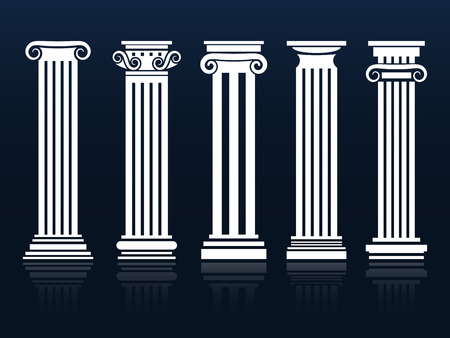 Classic columns. Ancient vector architecture roman and greek pedestal column set illustration Vettoriali