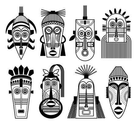 african mask: Ethnic masks or tribal masks flat icons. African souvenir aborigine totem ritual mask set. Vector illustration