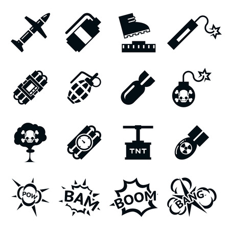 bombardment: Bomb icons. Black and white bombs pictograms. Explosion and destruction signs, vector illustration