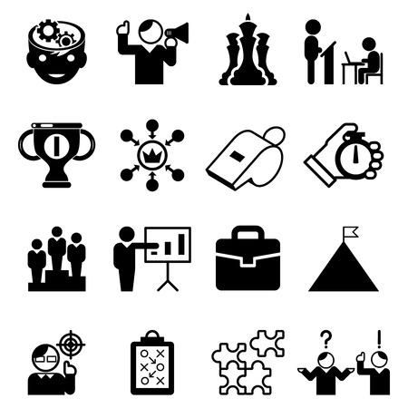 Business mentoring iconen en coaching tekens. Mentorele vaardigheden en tutoriën, leiderschap, management. Vector illustratie Stock Illustratie