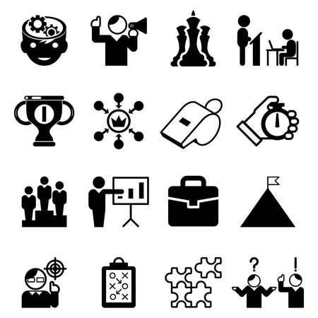 Business mentoring icons and coaching signs. Mentorship skill and tutorship, leadership, management. Vector illustration Çizim
