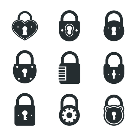 padlocks: Lock icons. Vector locks and padlocks black pictograms. Privacy, web protection, safety and security signs
