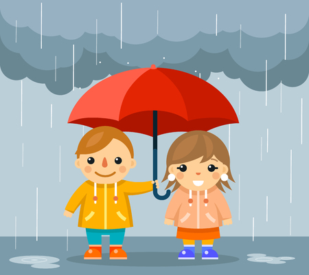 cute girl: Cute boy and girl with umbrella standing under rain. Standing happy couple under parasol, vector illustration Illustration