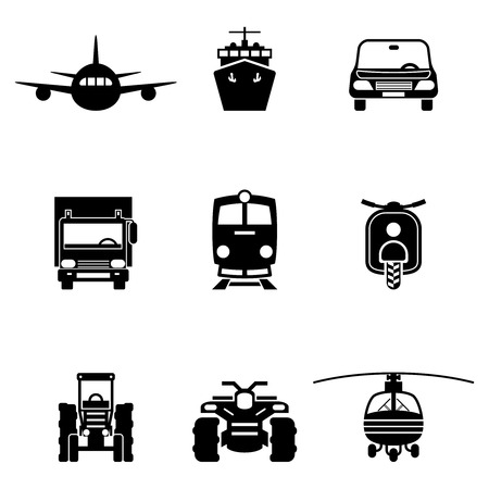 signs and symbols: Vehicle transport vector signs set. Car and ship icons, train and truck symbols Illustration