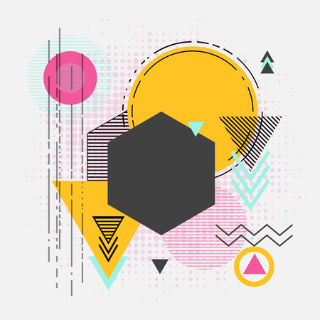 composition book: Abstract retro geometric background for book cover, web design and modern graphics. Composition polygon vector illustration