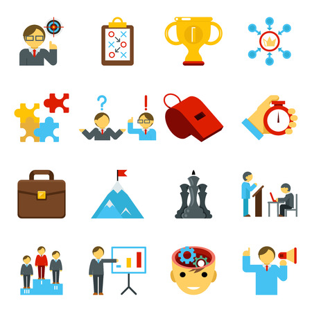 Mentoring and training flat icons, skills coaching signs for business strategy. Vector illustration Vetores