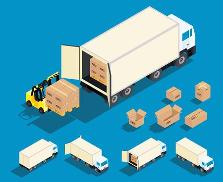 Chargement d'un cargo dans le camion isométrique illustration vectorielle. Livraison, industrie du transport de fret de marchandises