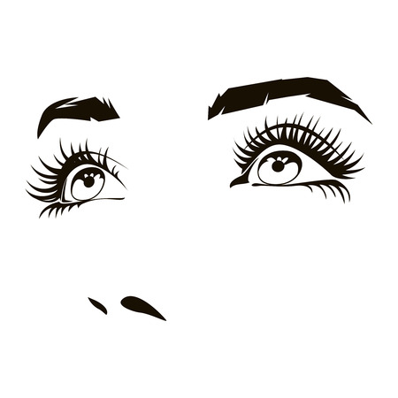 Beautiful woman face with expressive female eyes. Beauty expression, lady portrait. Vector illustration 일러스트